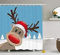 クリスマス&新年おめでとう シャワーカーテン バスカーテン おしゃれ 浴室 90x180cm