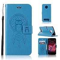 Motorola Moto Z Play (5.5インチ) ケースカバー手帳型 かわいい フクロウ 手作り 高級PU レザーケース 手帳型 財布型 専用保護カバー スタンド機能 ストラップ付き カードポッケト ボタン マグネット式 全面保護ケース 選べる8色 (ブルー)