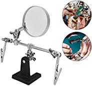 Flux Magnifying Glass Soldering Stand, 5X Welding Fixture DIY Tool All Metal Soldering Station with Magnifying Glass Third H