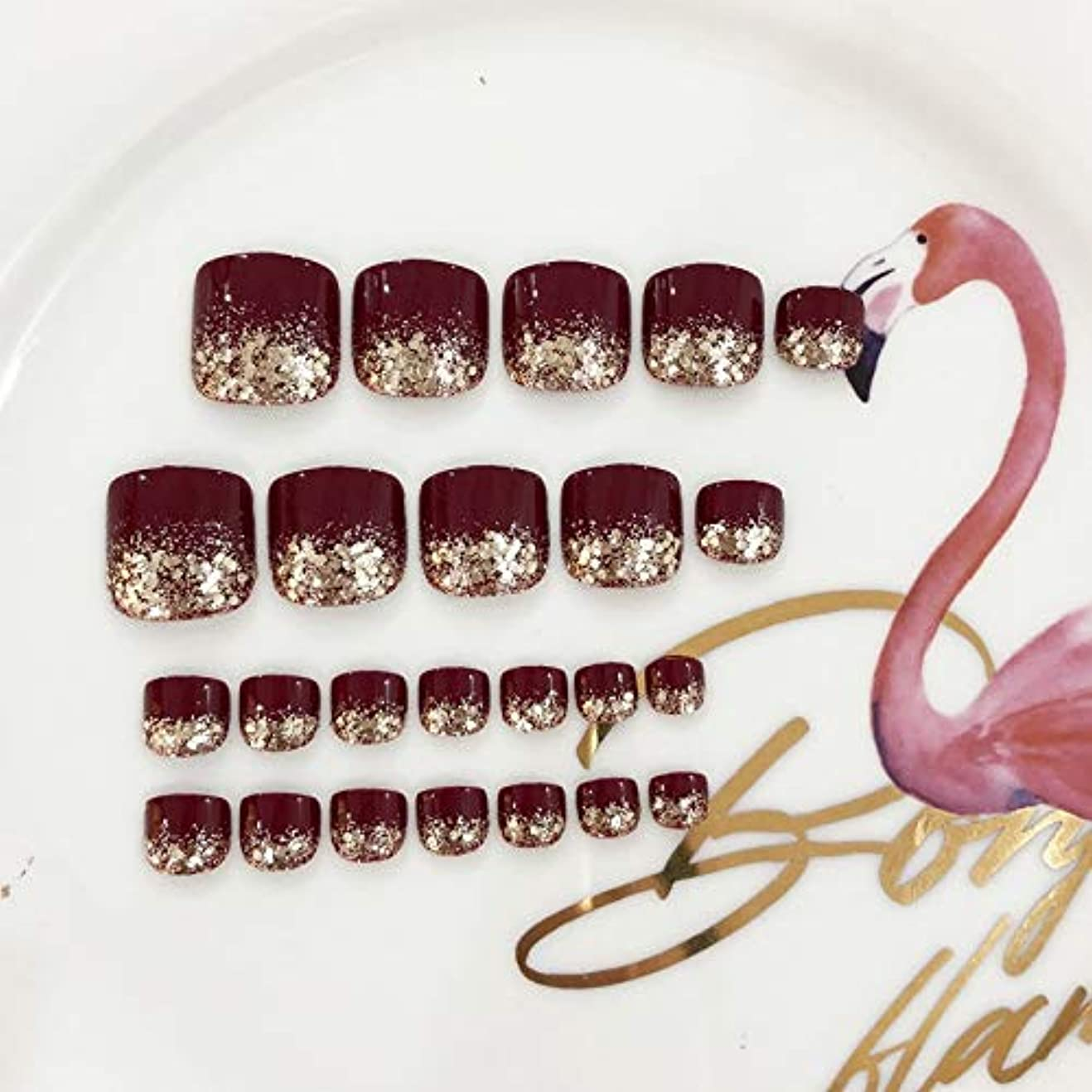 アンティーク報酬異邦人AFAEF HOME 偽爪キット24個入り赤と輝きのスパンコールフレンチマニキュア偽爪と接着剤フルカバーミディアムの長さ