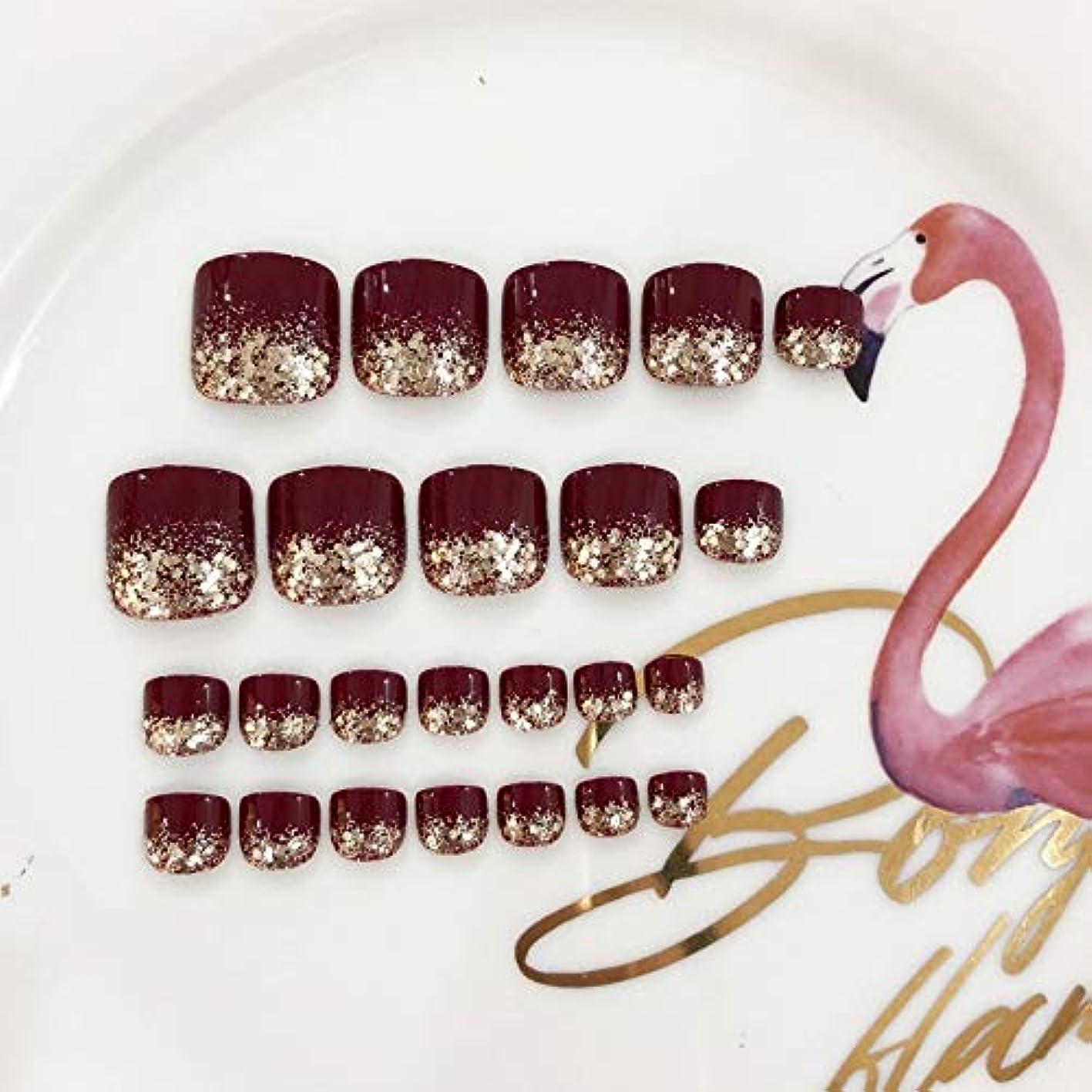 XUANHU HOME 偽爪キット24個入り赤と輝きのスパンコールフレンチマニキュア偽爪と接着剤フルカバーミディアムの長さ