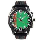 トルクメニスタンの旗 - メンズブラックゼリーシリコン腕時計