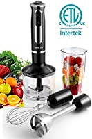 500 Watt 4-in-1 Hand Blender with 8 Speed, Powerful Immersion Handheld Stick Blender Mixer Includes Food Chopper, Stainless Steel Blades, Whisk, and BPA-Free Beaker 141[並行輸入]