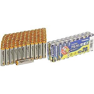 Amazonベーシック 乾電池 単4形 アルカリ 100個セット & 東芝 アルカリ乾電池 単3形1パック20本入 LR6L 20MP