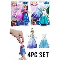 [マテル]Mattel Disney Frozen Magiclip Anna and Elsa 4pcs Doll Set 3267675 [並行輸入品]