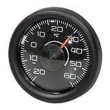 リヒター【サーモメーター・フラット】メータータイプの車載温度計(ブラック)ドイツ製