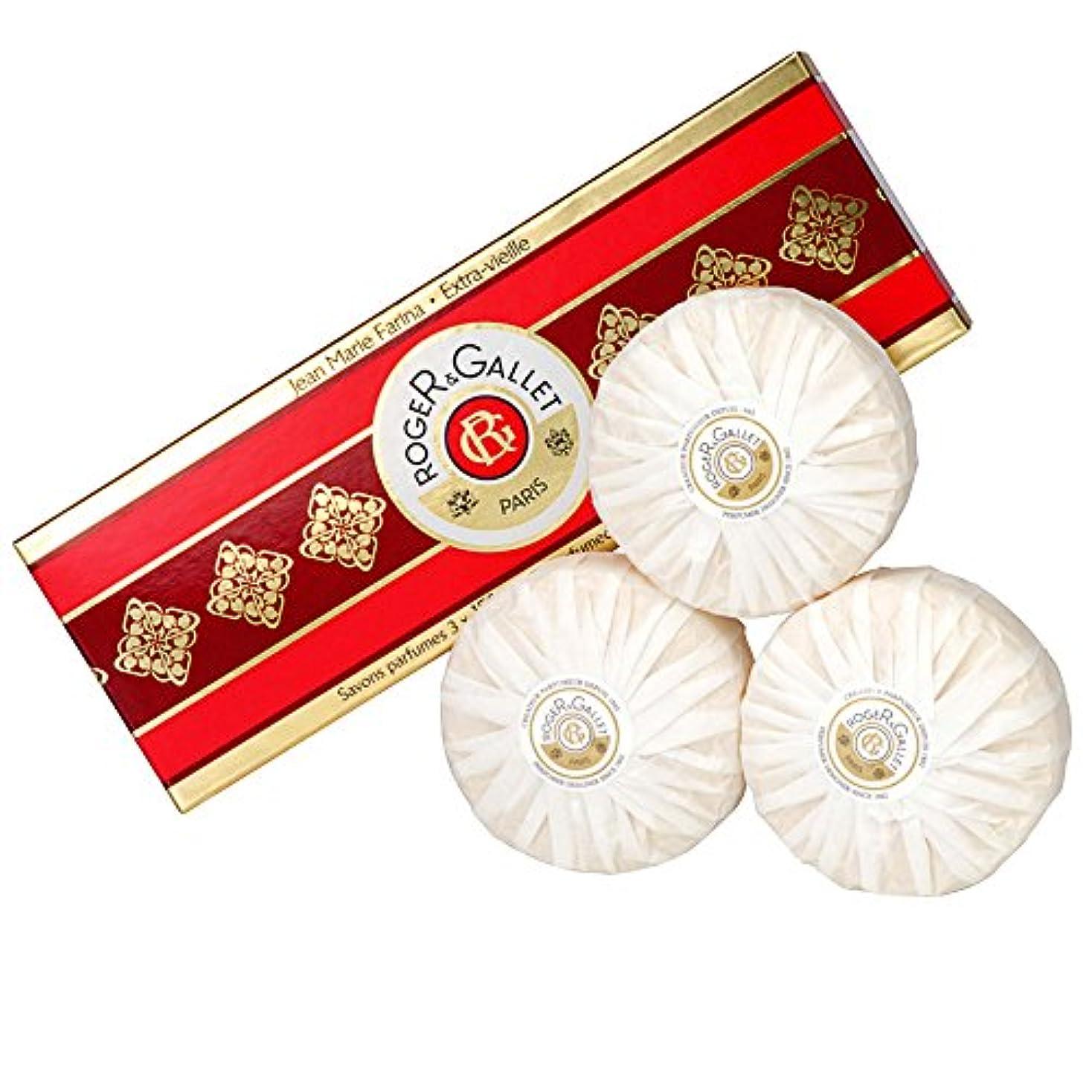 拡声器試験チューインガムロジャー&Galletのジーンズマリーファリナ石鹸は、3つのX 100グラムを設定しました (Roger & Gallet) (x6) - Roger & Gallet Jean Marie Farina Soap Set...