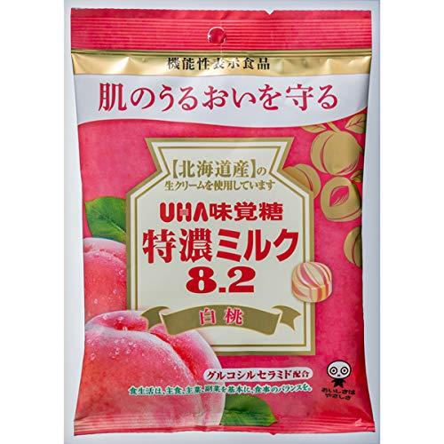 UHA味覚糖 機能性表示食品 特濃ミルク8.2 白桃 84g×72袋入り (1ケース)