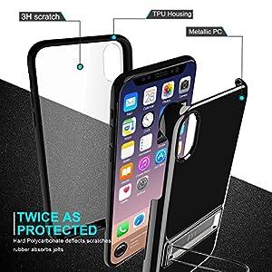 iPhone XS ケース iPhone X ケース,Fyy 360°全面保護 PC 透明バックカバー 二重構造 両面ケース スタンド機能 バンパーケース 組み合わせ自由 スリム クリア 薄型 軽量 防塵 耐衝撃 iPhone (5.8インチ) 2018/2017 対応 スマホケース ブラック