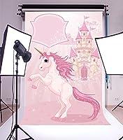 lfeeyユニコーン写真背景4x 5ftピンク漫画スタイルユニコーン城誕生日ベビーシャワーパーティー写真バックドロップユニコーンGirlsフォトPortrait Stduio