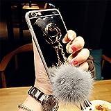 ラグジュアリーベアリングタッセルフォールボールペンダントデザインミラー効果の裏カバーソフトクリアTPUの携帯電話保護カバーiphone6 6s 6plus&iphone7 7plus (iphone 6plus, Silver)