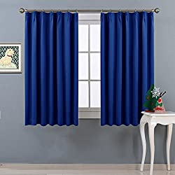 NICETOWN 遮光カーテン 2枚セット ローヤルブルー リビングルーム UVカット ブラインド 幅100cm丈110cm
