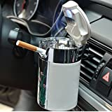 Geekercity Car Cigarette Ashtray Portable Auto Smokeless Tobacco Tray with Car Travel LED Blue Light Air Vent Cup Holder Whit