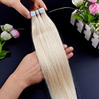 FidgetGear PUの皮の実質のRemyの人間の毛髪延長16-26inchの7A継ぎ目が無いテープ #60白ブロンド