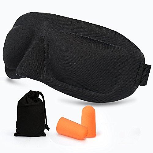AMAZKER 睡眠3D立体型アイマスク スリープマスク遮光 耳栓 グッスリ快眠 安眠グッズ 圧迫感ゼロ シルクの肌触り 目隠し寝具 不眠 昼寝 目疲れ 疲労回復 眼? 飛行機 旅行休息専用セット収納袋付き (ブラック)