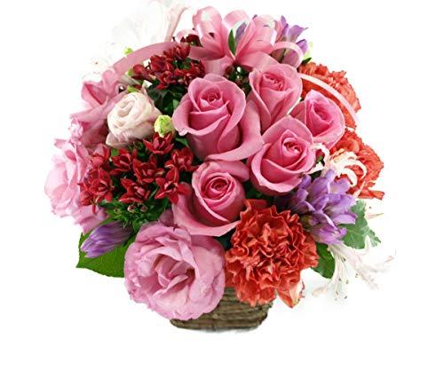 5本のバラと季節のお花のリボンアレンジメント...