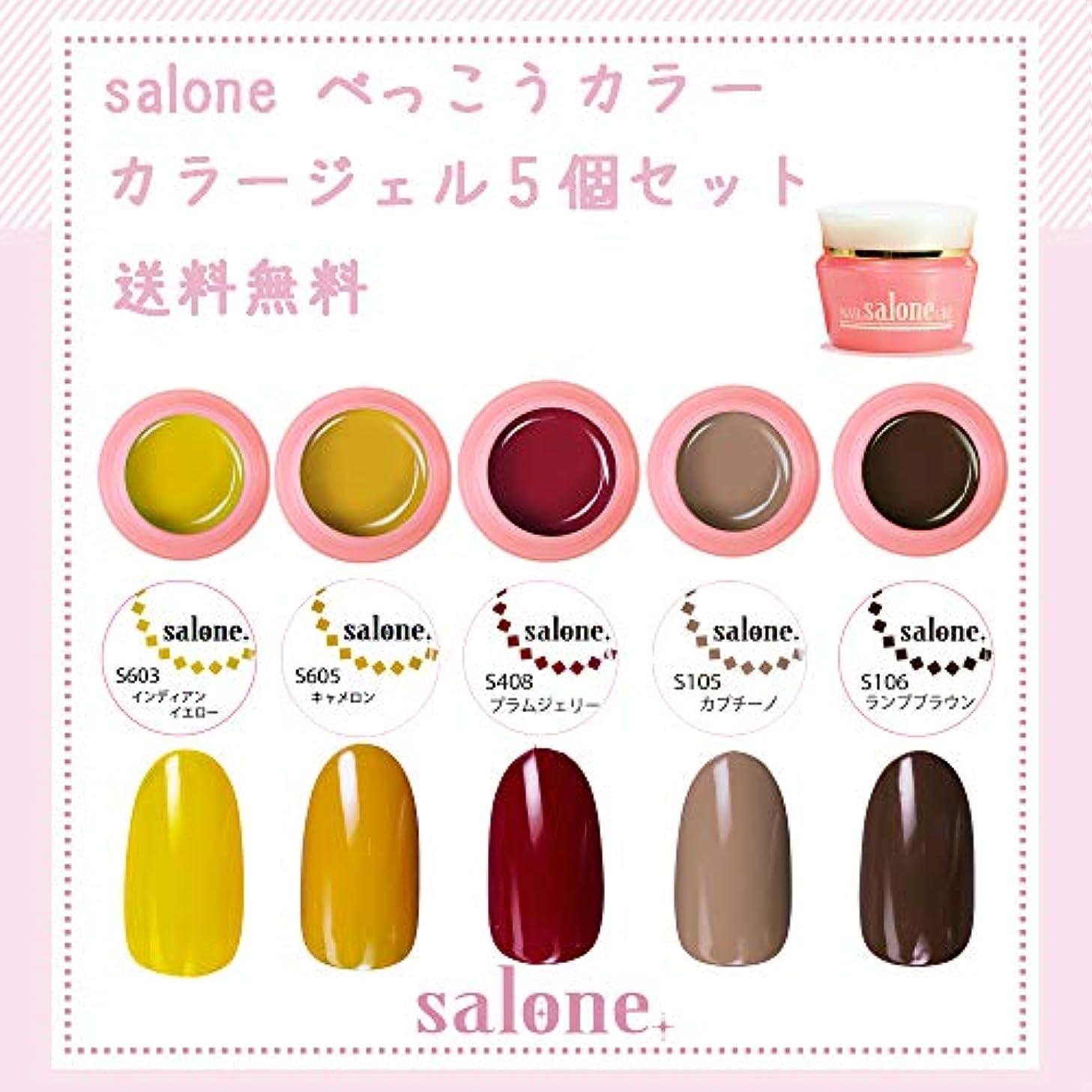 【送料無料 日本製】Salone べっ甲ネイル カラージェル5個セット ネイルのマストテクニック「大人気な」べっ甲ネイルにぴったりなカラー