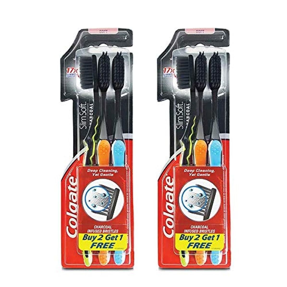 スイングオプショナル無駄Colgate Slim Soft Charcoal Toothbrush (Buy 2 Get 1) (Pack Of 2)