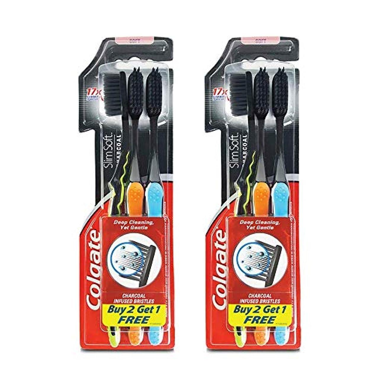 ミニ発掘練習Colgate Slim Soft Charcoal Toothbrush (Buy 2 Get 1) (Pack Of 2)