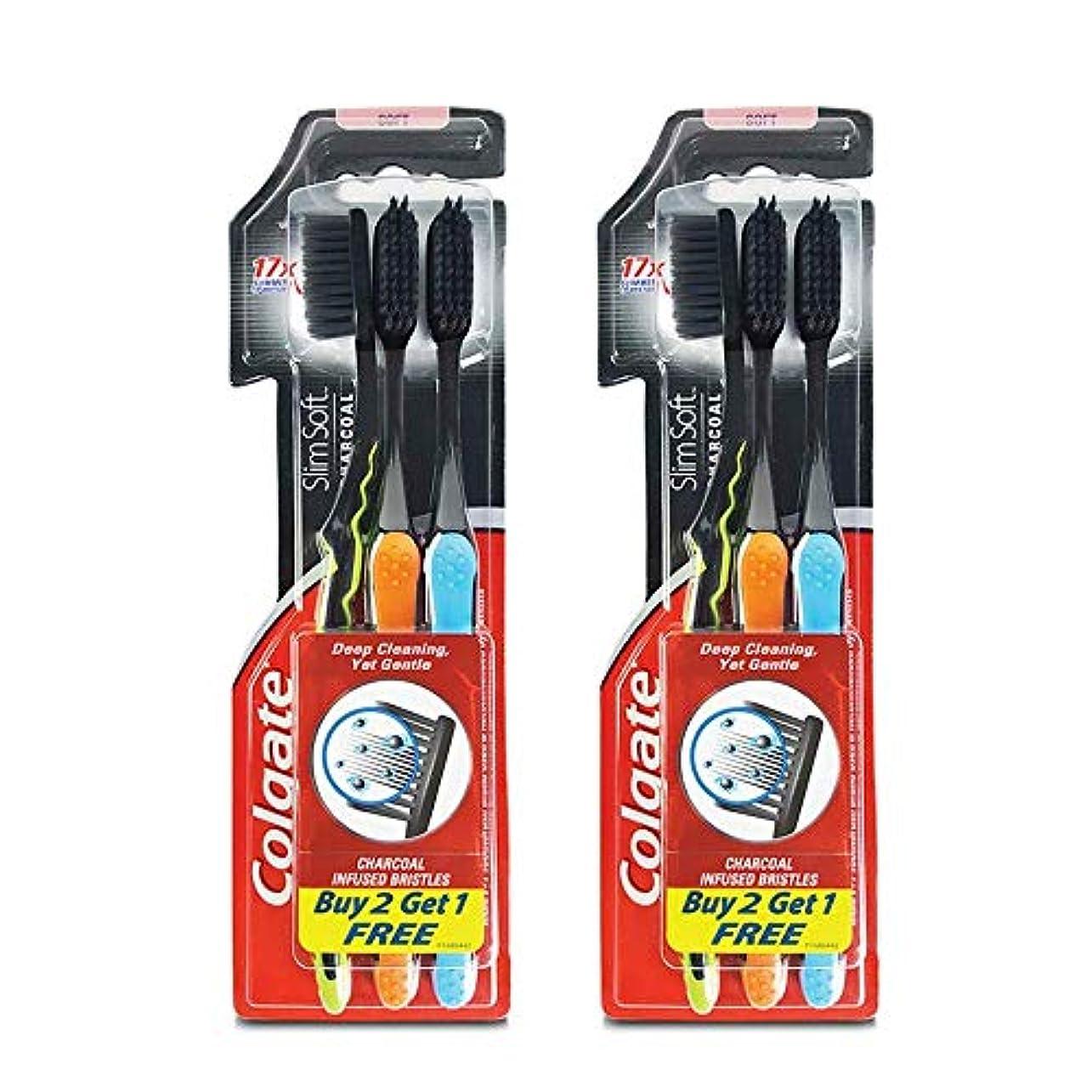 閃光インレイ想定Colgate Slim Soft Charcoal Toothbrush (Buy 2 Get 1) (Pack Of 2)