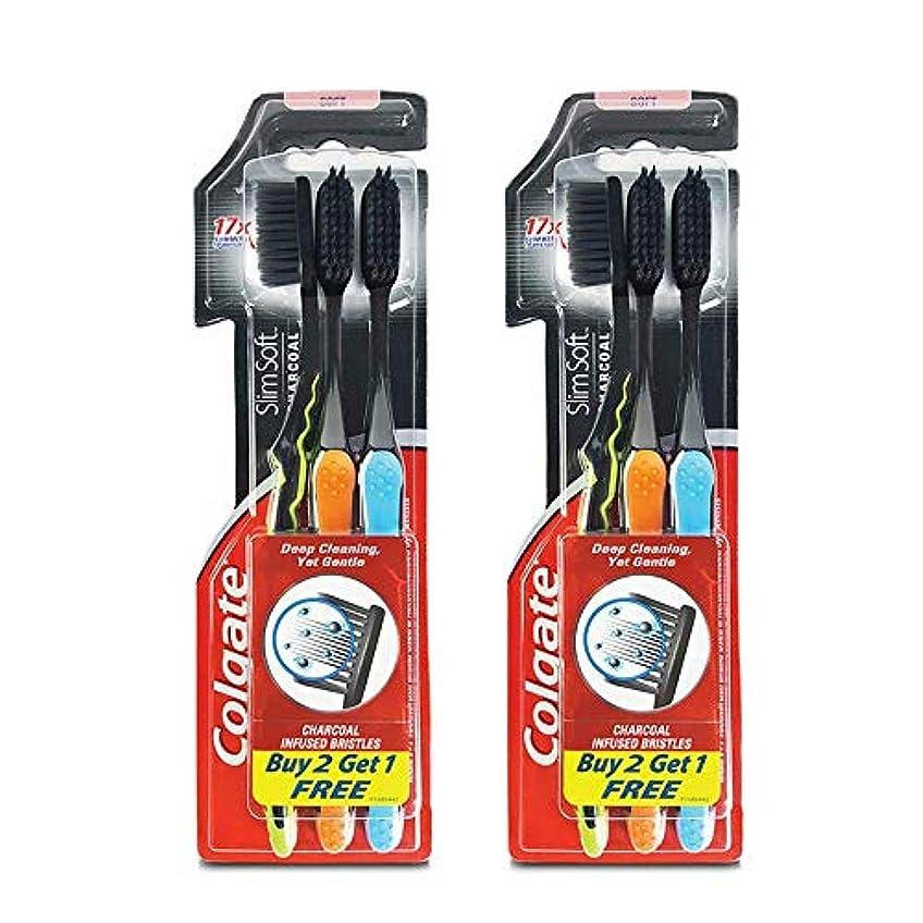 癒す適応するスロットColgate Slim Soft Charcoal Toothbrush (Buy 2 Get 1) (Pack Of 2)