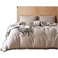 maiyu-my-washedコットン寝具セットホームテキスタイルソフトベッドの裏地キングクイーンツインサイズシンプルホワイトボール布団カバーフラットシーツ枕カバー Twin/2pcs:1 x Duvet Cover +1 x Pillow Case ベージュ