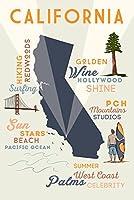 カリフォルニア–Typographyとアイコン 36 x 54 Giclee Print LANT-53745-36x54