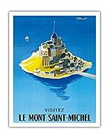 モン・サン・ミッシェルをご覧ください - ノルマンディー、フランス - ビンテージな世界旅行のポスター によって作成された ベルナール・ヴィユモ c.1955 - アートポスター - 28cm x 36cm
