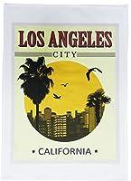 カリフォルニア州ロサンゼルス市 - レトロスタイル トラベルポスター 大型コットンティータオル
