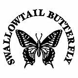 【SWALLOWTAIL BUTTERFLY アゲハ蝶 Ver.12 カッティングステッカー 大判Lサイズ 2枚組 幅約27.5cm×高約22.7cm】カラー:黒(ブラック)
