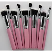 (Pink Silver) - Mini Make up Brush Set 10 Brushes Face Eye Professionnel Fondation Blush Powder (Pink Silver)