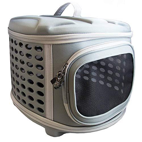 Pet Magasin (ペットマガジン) 折りたたみ可能・ハードカバー・ペットキャリーバッグ- ネコ、小型犬、子犬のための丈夫な軽量布で作られたハードトップ&フロア付き、ポータブルケージ