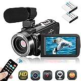 ビデオカメラ Aitechny デジタルビデオカメラ 36MP IR夜視機能 遠隔操作可 ウェブカメラ用 タッチパネル 外付けマイク タイムラプス スローアクション HDMI機能付き バッテリー*2 リモコン付属 三年保証