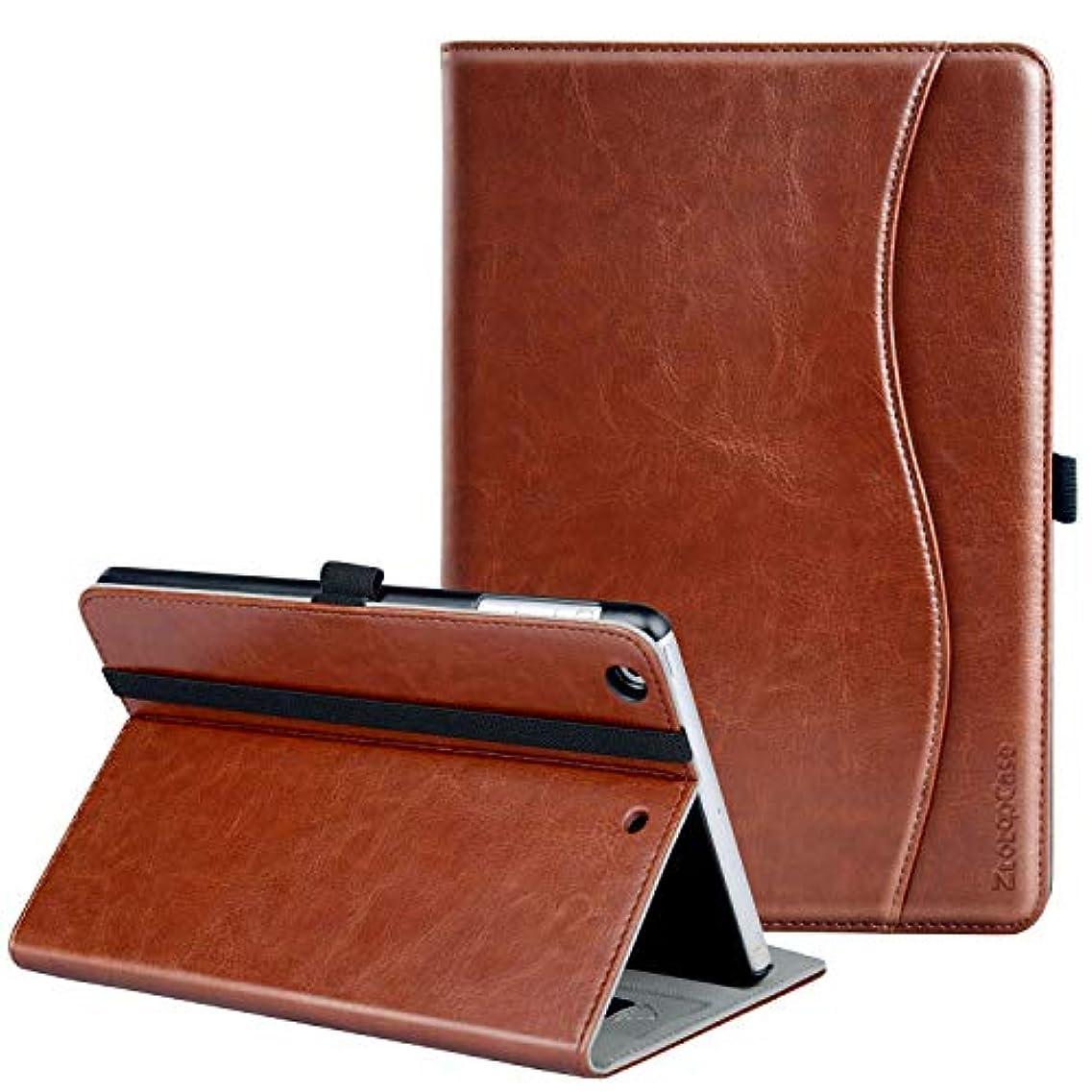 加入論理聖書Ztotop iPad Mini/Mini2/Mini3 ケース 高級PUレザー オートスリープ機能 ポケット付き(ブラウン)
