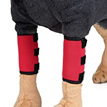 Pet Knee Pads Dog Support Brace for Dog Front Leg Braces Pet Knee Pads Dog Elbow Protector Help with Injuries Sprains (1Pair)-L, Red