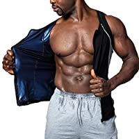 HOMETA Sauna Vest for Men Waist Trainer Sweat Vest Zipper Heat Trapping Polymer Vest for Weight Loss Workout Shirt Slimming Tank top