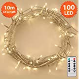 Christmas String Lights 100 LED 10m Remote Dimmable Warm White Timer Indoor Outdoor Fairy Lights Festive Wedding Bedroom Novelty Decorations Tree Lights Battery Powered 32ft Lit Length Clear Cable