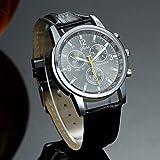 選べる 5 色 メンズ 薄型 腕時計 レザー ベルト ビジネス ウォッチ シンプル スーツ 軽量 フォーマル アウトドア スポーツ (ブラック) 128