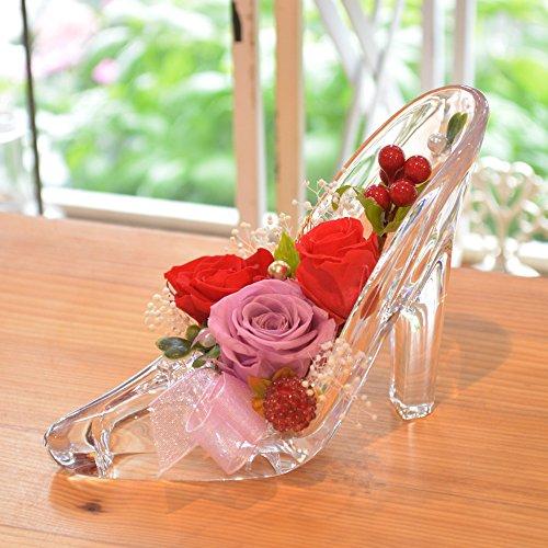 [florence du] プリザーブドフラワー 3輪バラハイヒールアレンジメント レッド ガラスの靴 花 ギフト フラワーギフト 結婚 還暦 プレゼント 誕生日 シンデレラ プロポーズ ブリザードフラワー 母の日ギフト
