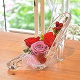 [florence du] プリザーブドフラワー 3輪バラハイヒールアレンジメント レッド ガラスの靴 花 ギフト フラワーギフト 結婚 還暦 プレゼント 誕生日 シンデレラ プロポーズ プリンセス 祝い 記念日 ブリザードフラワー