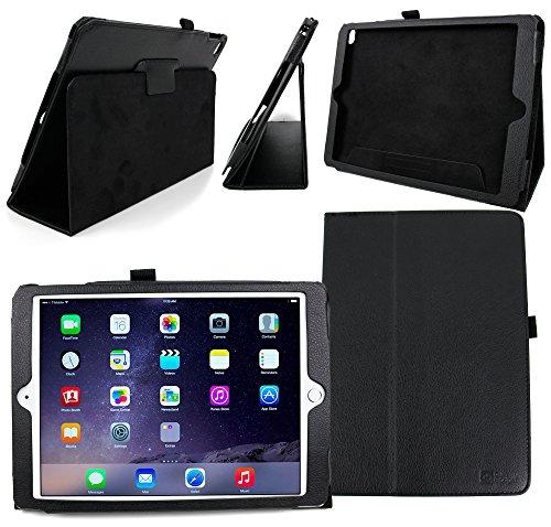 DURAGADGET  Apple(アップル) iPad Air 2用 本革レザー保護ケース スタンド機能付 (黒)