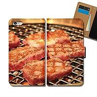 AQUOS SERIE mini SHV33 ケース 手帳型 食べ物 手帳ケース スマホケース カバー 写真 フード 焼肉 酒 E0314030085402