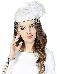 【ノーブランド品】 レディースベール付きホワイトベレー帽