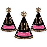 シック13日誕生日 – ピンク、ブラックとゴールド – Mini円錐Birthday Party Hats – Small Little Party Hats – 10のセット