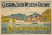 Clyde Watering PlacesヴィンテージポスタースコットランドC。1900 12 x 18 Art Print LANT-62243-12x18