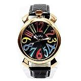トップリューズ式 ビッグフェイス 腕時計 ユニセックス (ピンクゴールド&ブラック)
