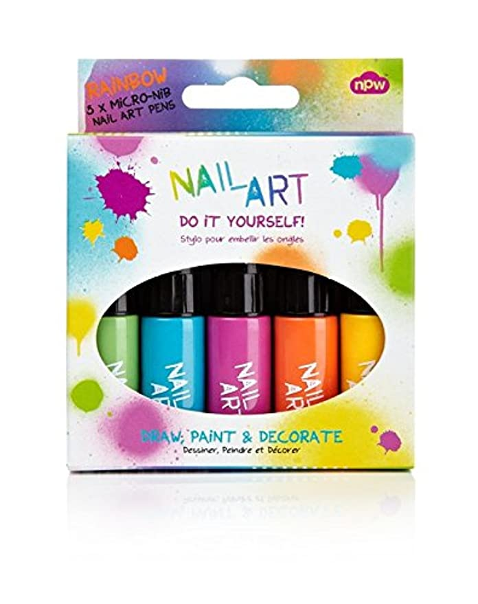 幹ガチョウファブリックNpw-Usa Inc. BBNP2959 Rainbow Brights Nail Art Brush and Pen Duo -5 Pack