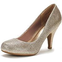 DREAM PAIRS ARPEL/Berry Women's Formal Evening Dance Rhinestones Classic Low Heel Pumps Shoes