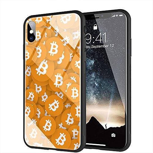 iPhone X ケース, iPhone XS ケース, と互換性のある強化ガラスバックカバーソフトシリコンバンパー iPhone X/XS AMA-16 BTCビットコイン