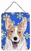 """Caroline's Treasures Cardigan Corgi Winter Snowflakes Wall or Door Hanging Prints, 16"""" x 12"""" [並行輸入品]"""